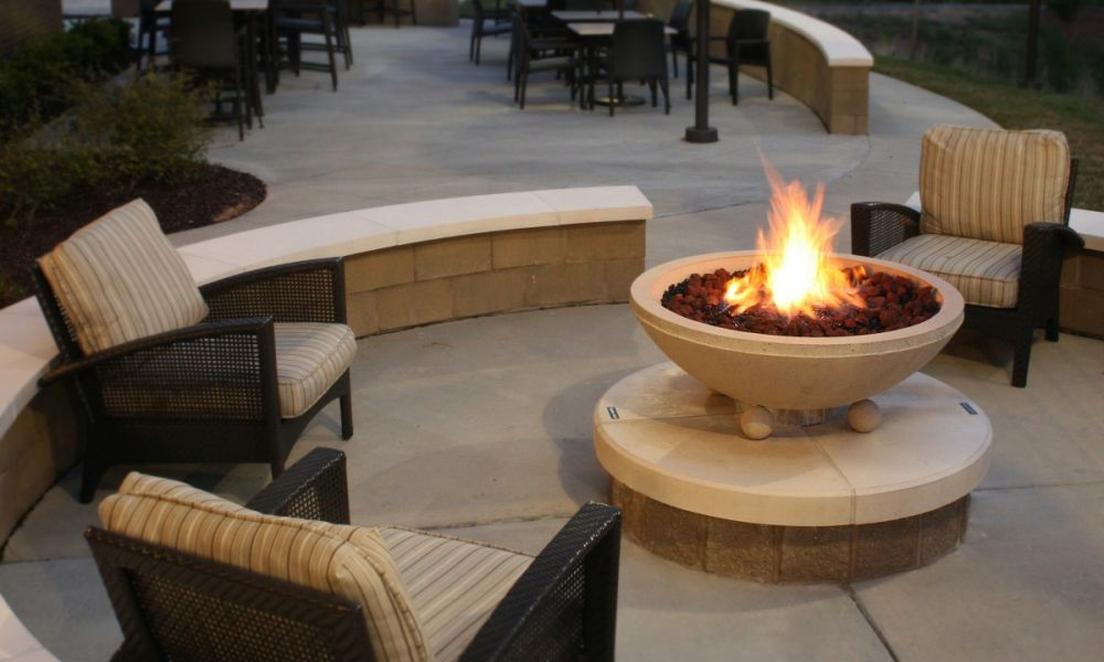 This Fire Pit acts as a Focal Point by the Pool